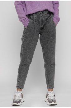 Модные джинсовые брюки на высокой посадке цвета графит