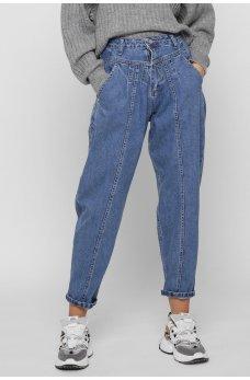 Синие молодежные джинсовые брюки