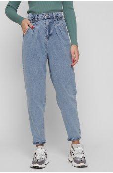 Голубые лаконичные джинсовые брюки-слоучи
