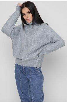 Серо-голубой уютный свитер оверсайз