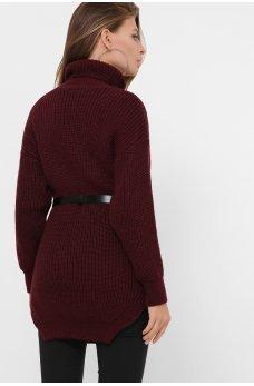 Вязаный свитер туника цвета марсала