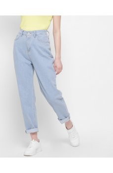 Голубые практичные джинсовые брюки релаксы