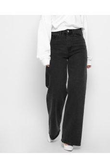 Графитовые свободные джинсовые брюки палаццо