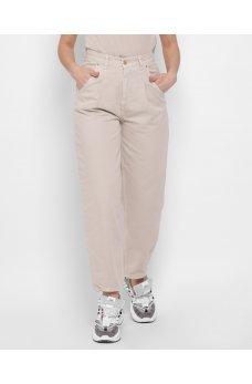 Бежевые оригинальные джинсовые брюки слоучи
