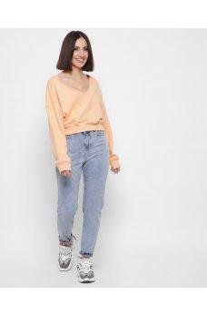 Голубые универсальные джинсы с потертостями