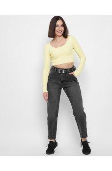 Темно-серые лаконичные джинсы на высокой посадке