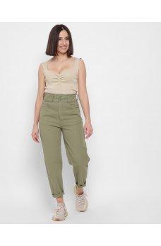 Зеленые оригинальные джинсовые брюки мом с карманами