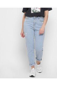 Светло-голубые джинсовые брюки мом с потертостями