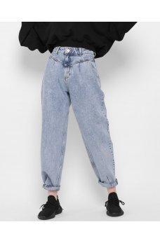 Голубые ультрамодные джинсовые брюки мом
