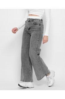 Серые практичные широкие джинсы кюлоты