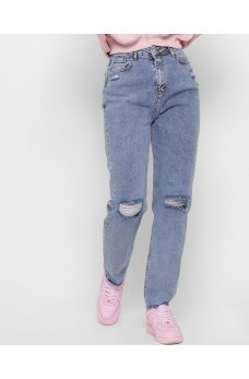 Голубые женские джинсовые брюки релаксы с порезами