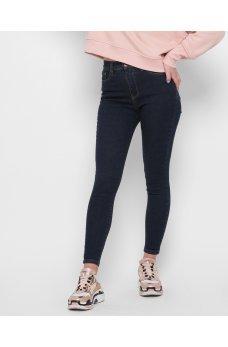 Темно-синие актуальные женские джинсы скинни