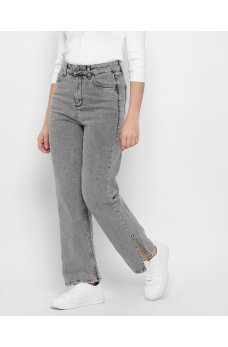 Серые комфортные джинсы кюлоты з декоративными вырезами