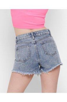 Голубые стильные джинсовые шорты с необработаным низом