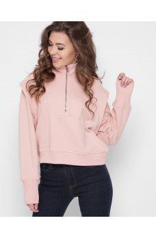 Молодежный розовый свитшот с молнией