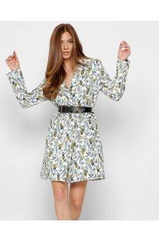 Молочное стильное платье-пиджак с принтом