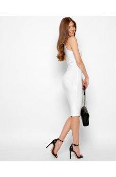 Белое облегающее летнее платье миди