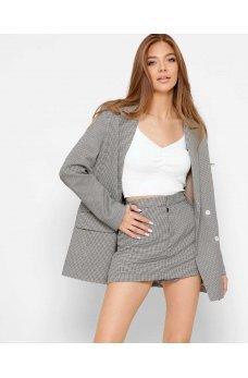 Бежевые гламурные шорты-юбка с принтом гусиная лапка