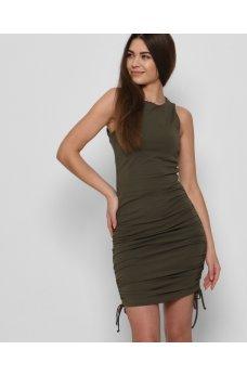 Практичное женское платье-майка цвета хаки