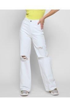 Белые стильные джинсовые штаны палаццо