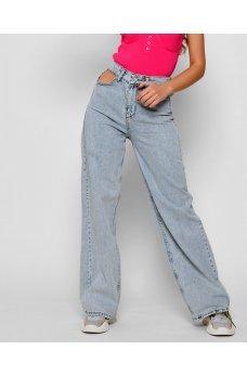 Голубые модные джинсы палаццо с разрезами
