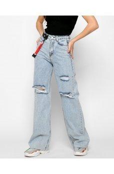 Голубые широкие джинсы палаццо с поясом