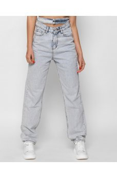Голубые гламурные джинсы слоучи с декоративным поясом