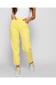 Желтые практичные джинсовые брюки релаксы
