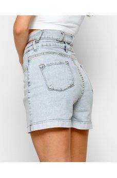 Голубые летние джинсовые шорты с разрезом