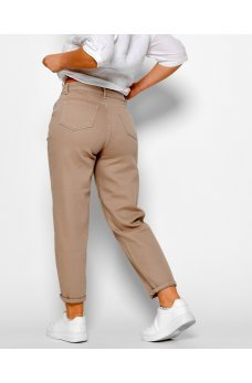Бежевые универсальные женские джинсы-мом
