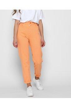 Оранжевые яркие джинсы релаксы