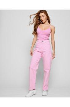 Розовые женские гламурные джинсы релаксы