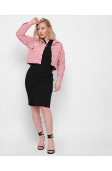 Розовая современная укороченная джинсовая куртка