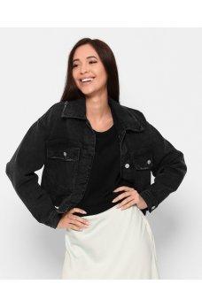 Черная практичная женская джинсовая куртка