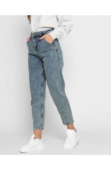 Голубые комфортные джинсы слоучи с карманами