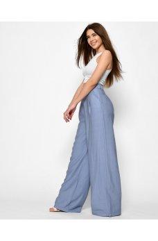 Голубые стильные широкие брюки палаццо