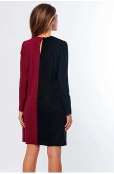 Оригинальное двухцветное платье из замши бордо