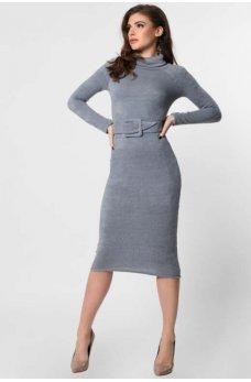 Стильное платье из ангоры серо-голубое