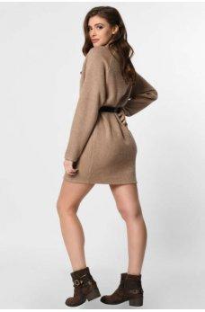 Вязанное платье мини в стиле оверсайз бежевое