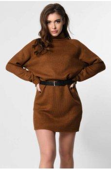 Вязанное платье мини в стиле оверсайз коричневое