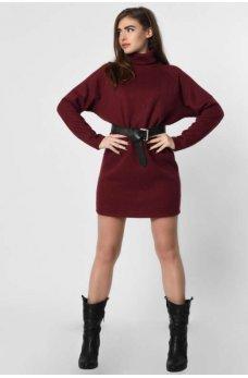 Вязанное платье мини в стиле оверсайз марсала