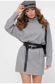 Вязанное платье мини в стиле оверсайз серое