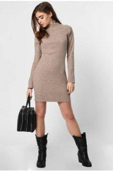 Шерстяное платье мини кофейного цвета