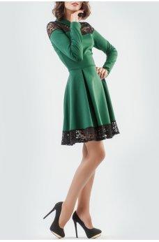 Платье с пышной юбкой изумрудное с гипюром