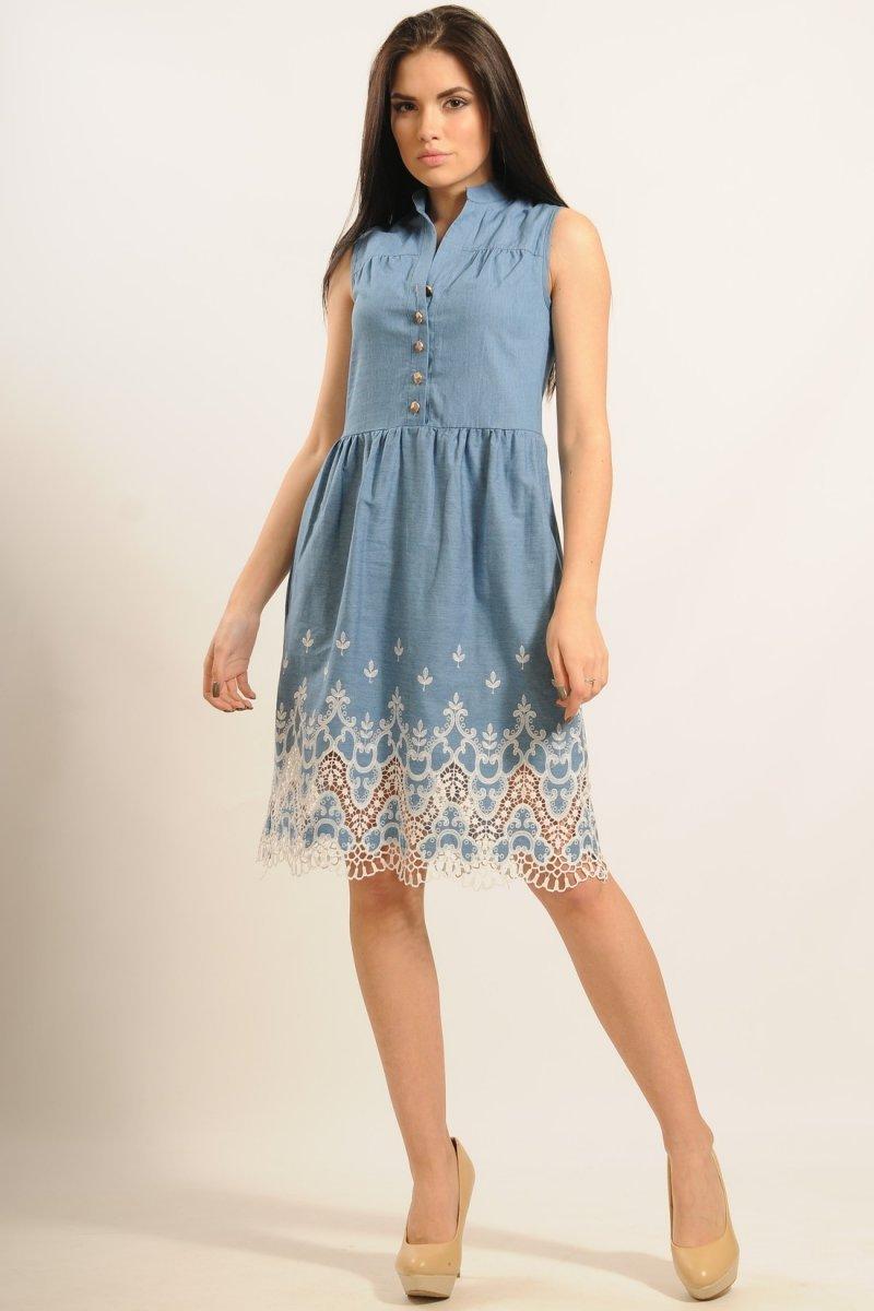 f920812f1ff Романтичное джинсовое платье с кружевом