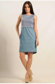 Джинсовое платье с планкой по спинке