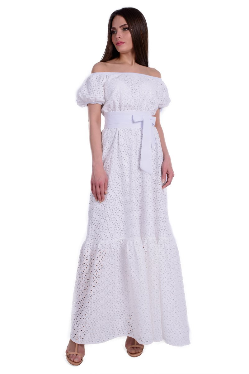 b31beedb62a Купить платье - Длинный белый сарафан с открытыми плечами