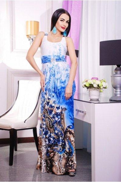 Длинный сарафан с синим принтом