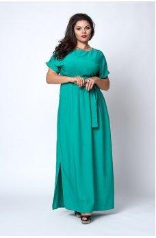 Длинное зеленое платье из штапеля