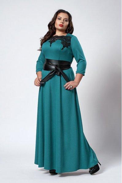 Романтичное платье в пол цвета бирюза